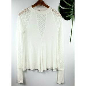 Free People Intimately lace inset sheer top M
